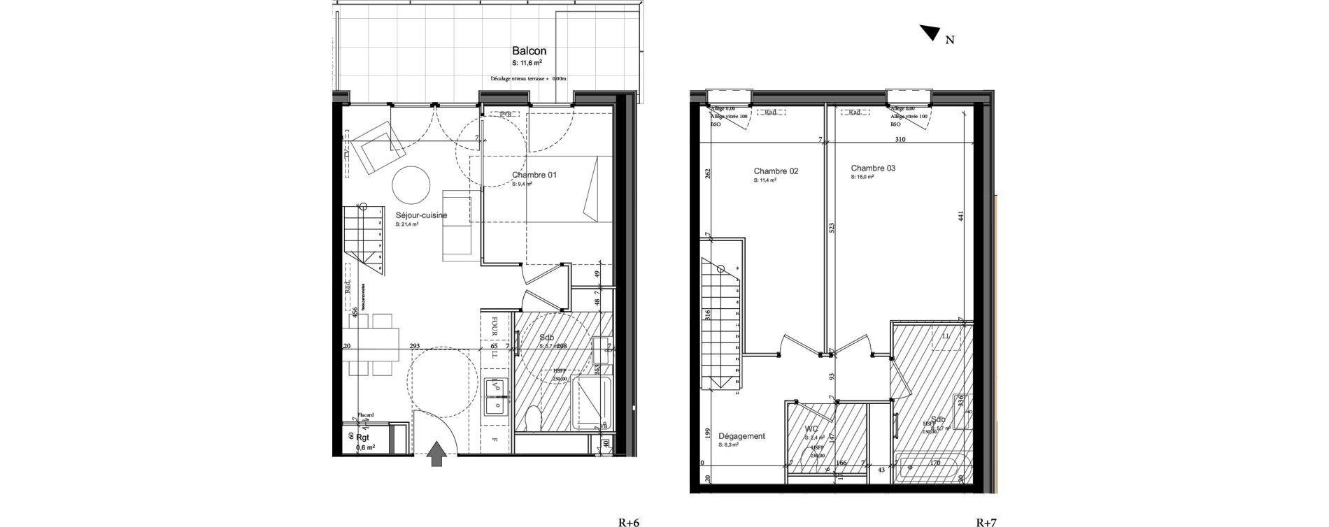 Duplex T4 de 78,90 m2 à Nancy Grand coeur