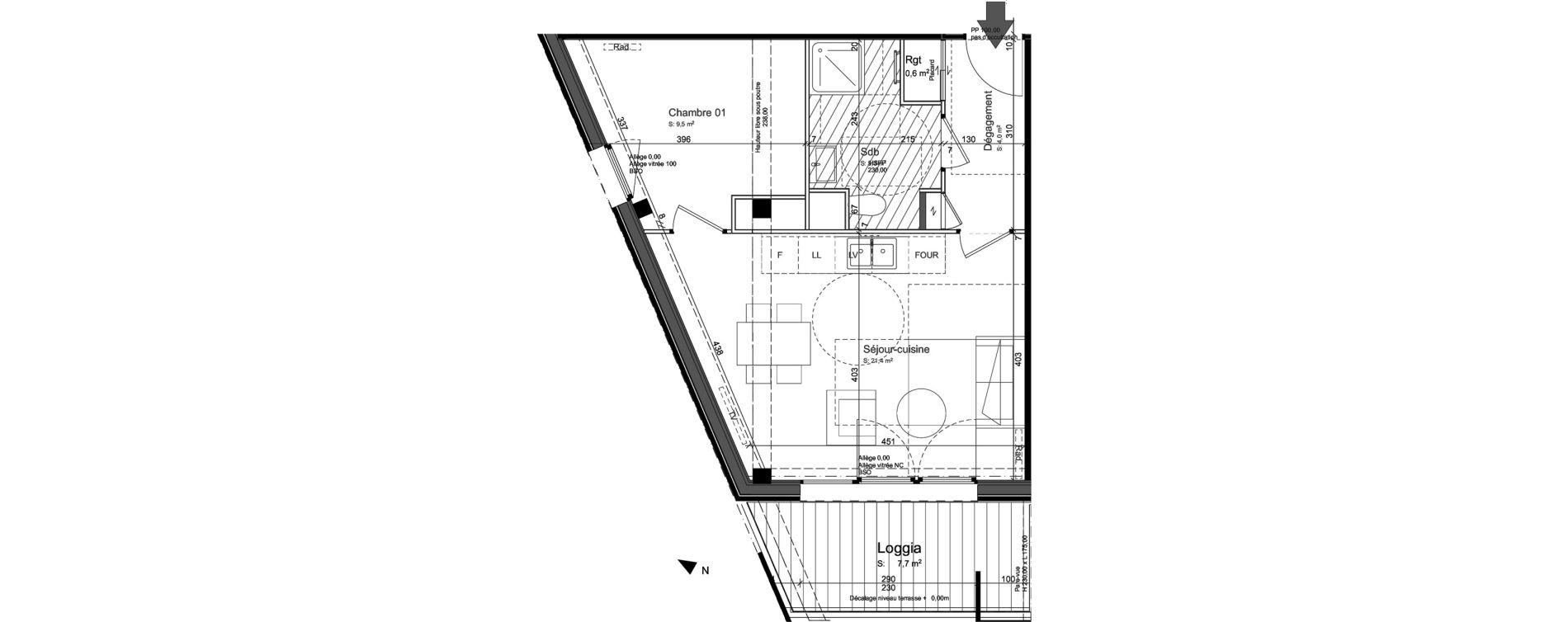 Appartement T2 de 41,80 m2 à Nancy Grand coeur