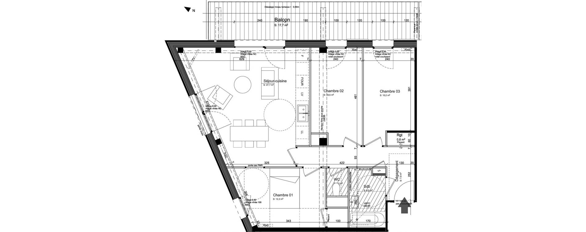 Appartement T4 de 74,90 m2 à Nancy Grand coeur
