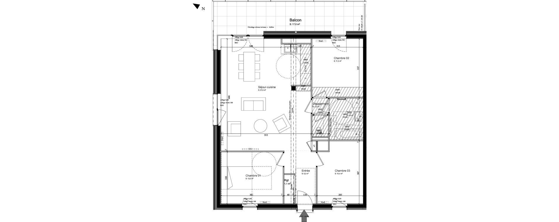 Appartement T4 de 84,70 m2 à Nancy Grand coeur