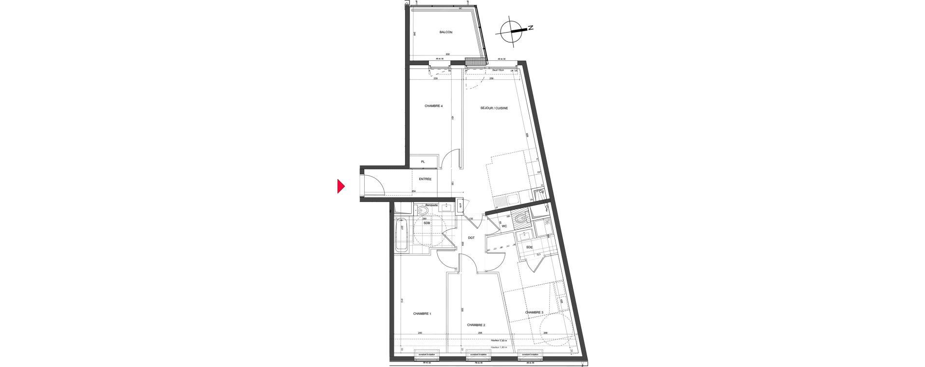 Appartement T5 de 83,13 m2 à Nancy Charles iii