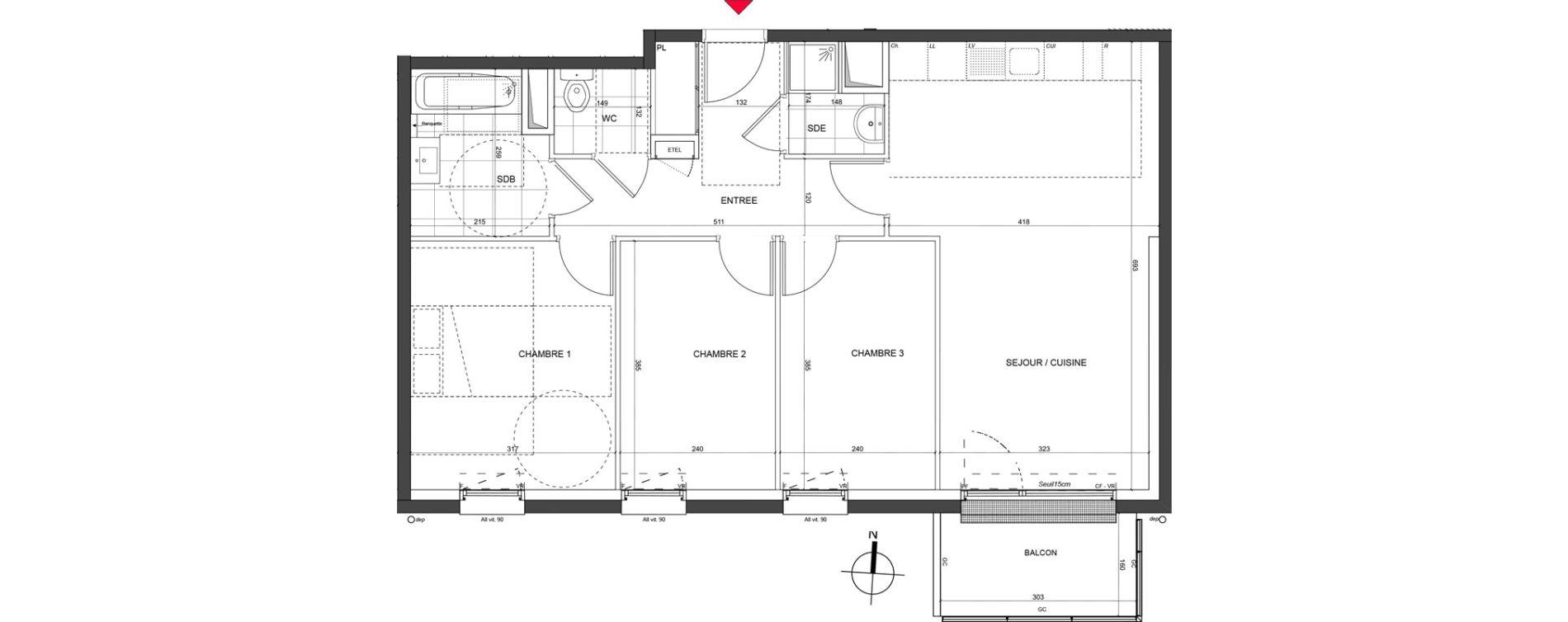 Appartement T4 de 74,49 m2 à Nancy Charles iii