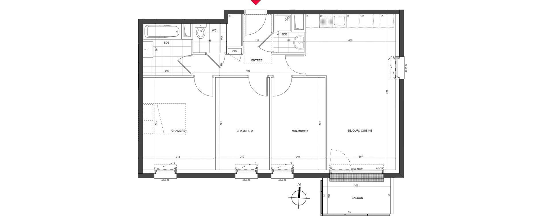 Appartement T4 de 73,03 m2 à Nancy Charles iii