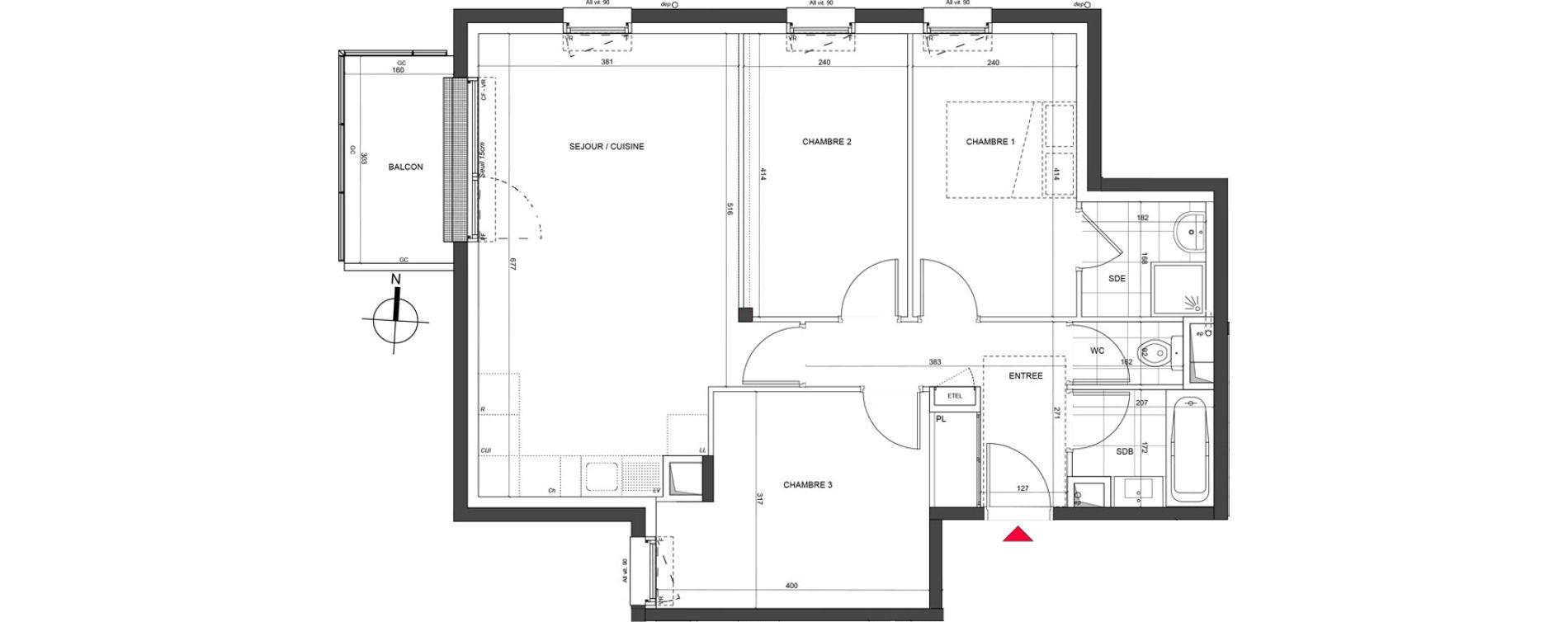 Appartement T4 de 71,36 m2 à Nancy Charles iii