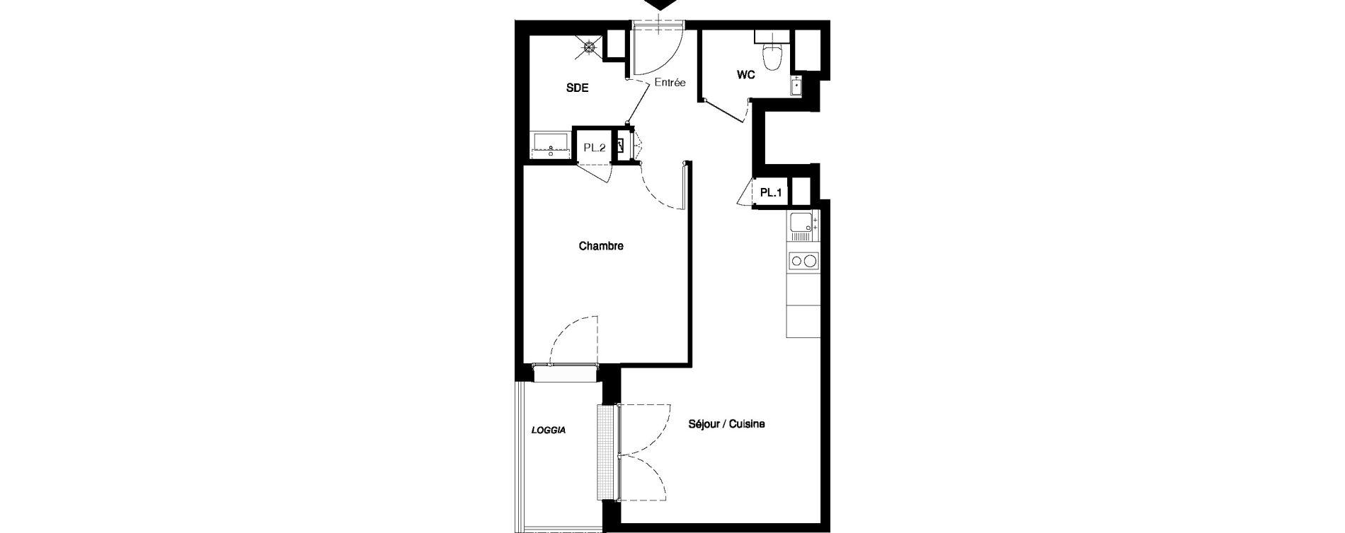 Appartement T2 meublé de 42,14 m2 à Nancy Rives de meurthe