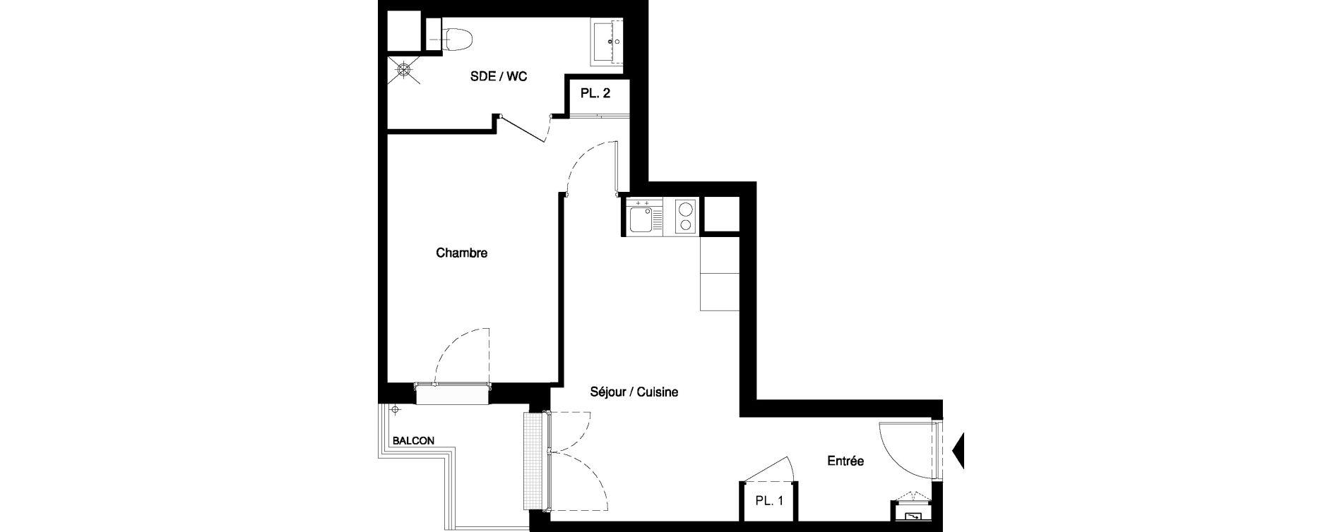 Appartement T2 meublé de 39,90 m2 à Nancy Rives de meurthe