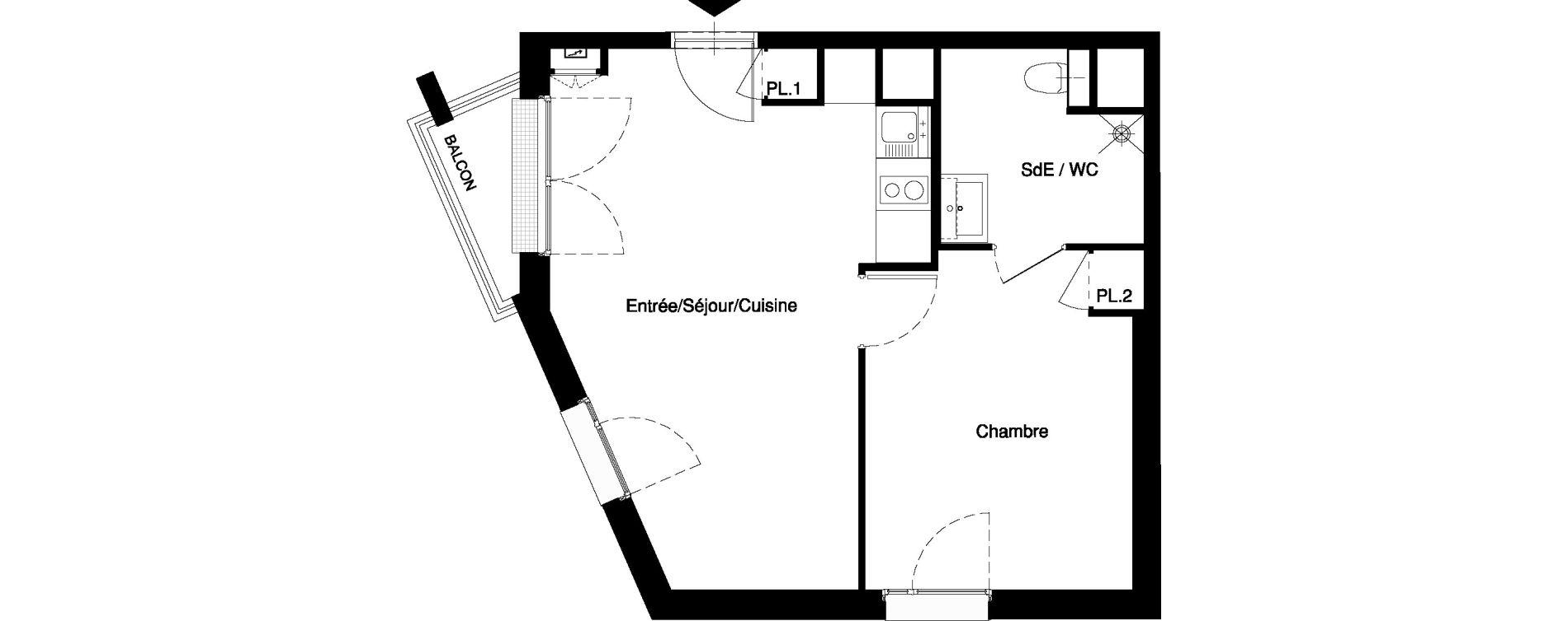 Appartement T2 meublé de 38,92 m2 à Nancy Rives de meurthe