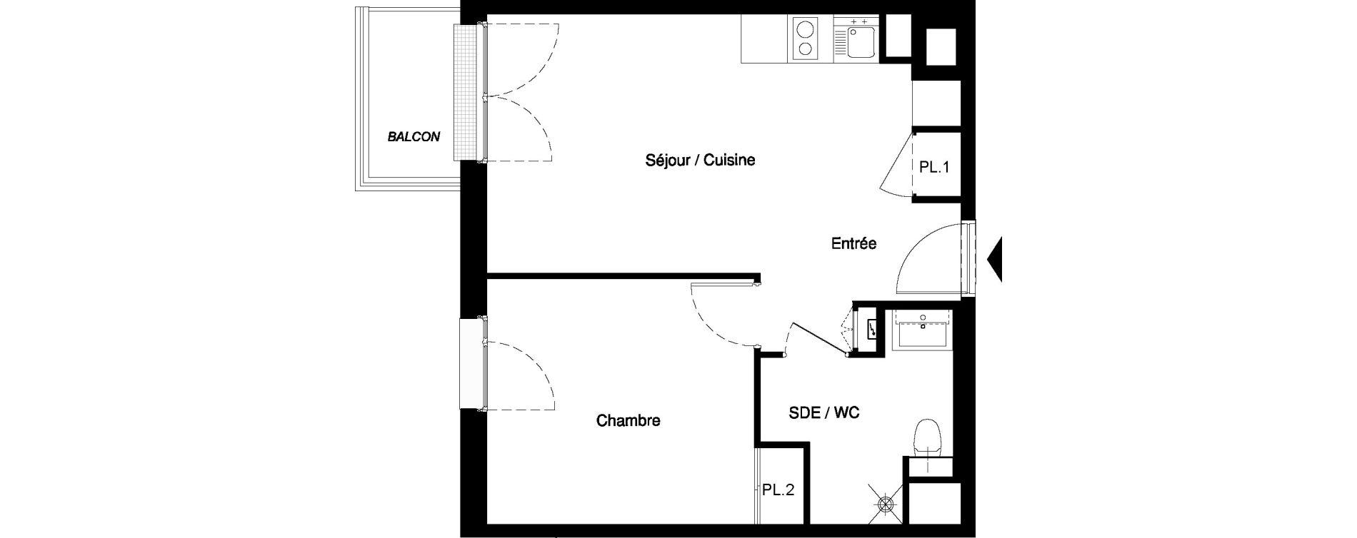 Appartement T2 meublé de 39,48 m2 à Nancy Rives de meurthe