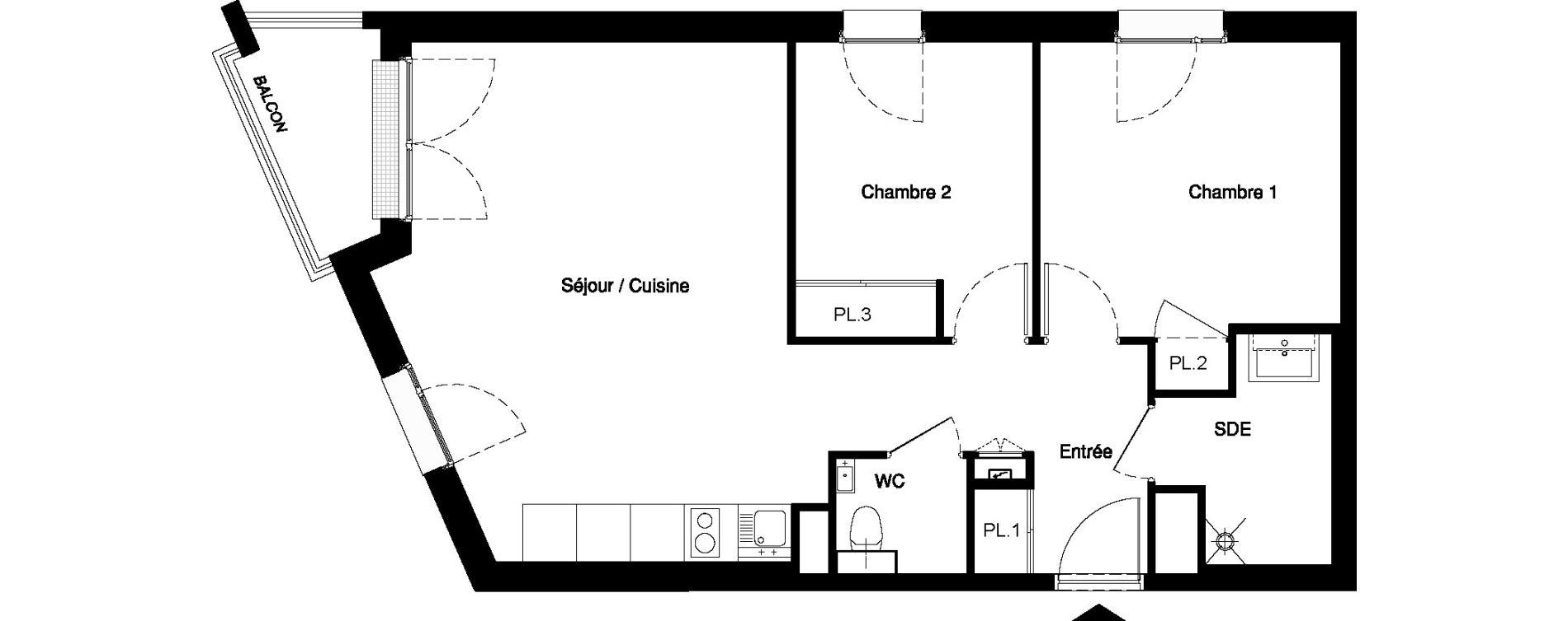 Appartement T3 meublé de 58,87 m2 à Nancy Rives de meurthe