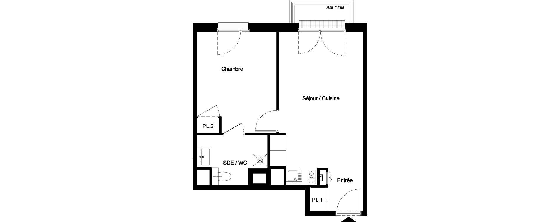 Appartement T2 meublé de 38,61 m2 à Nancy Rives de meurthe