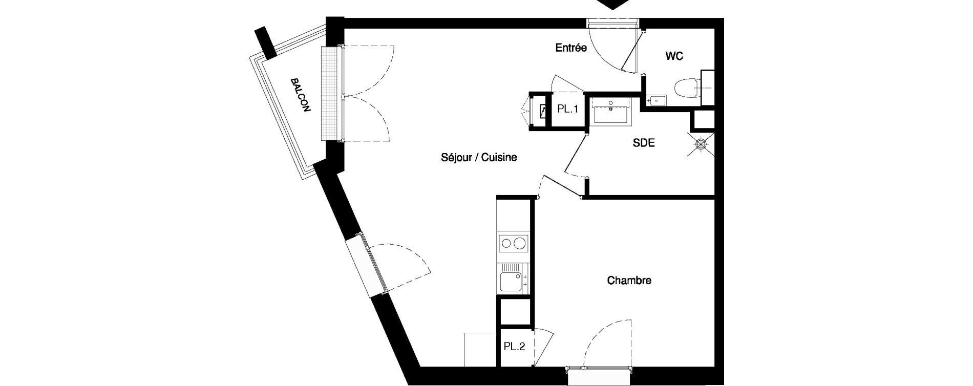 Appartement T2 meublé de 41,17 m2 à Nancy Rives de meurthe