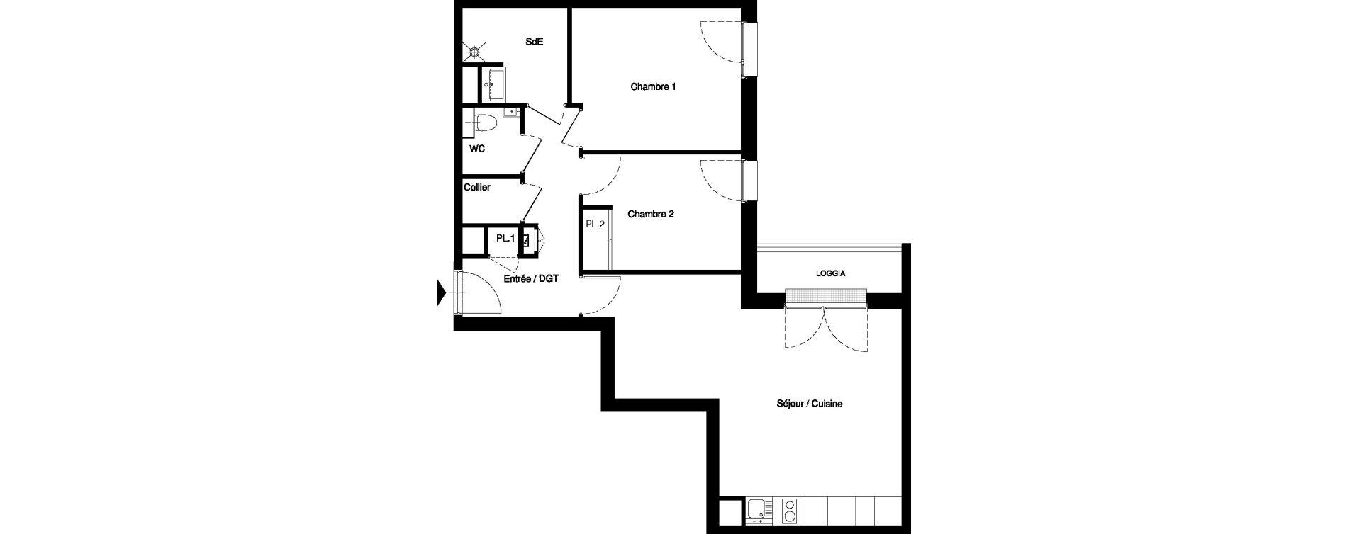 Appartement T3 meublé de 62,50 m2 à Nancy Rives de meurthe