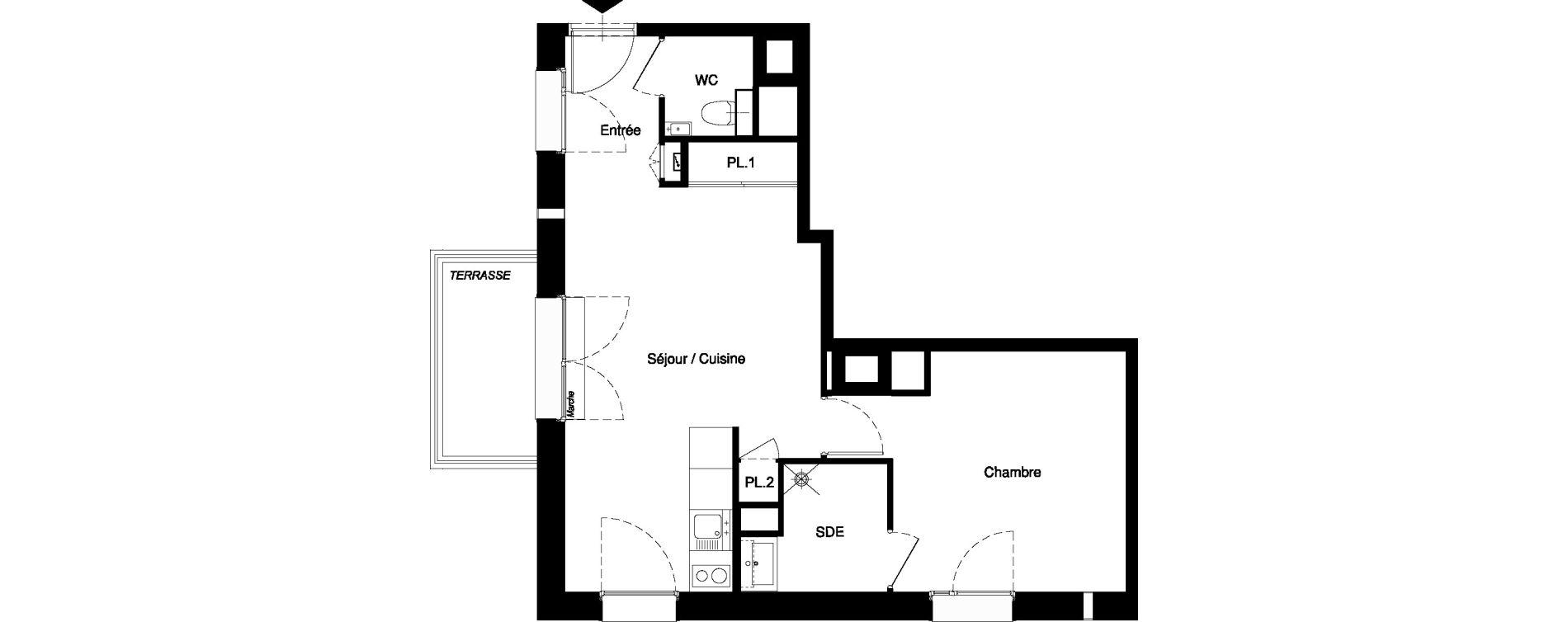 Appartement T2 meublé de 42,67 m2 à Nancy Rives de meurthe