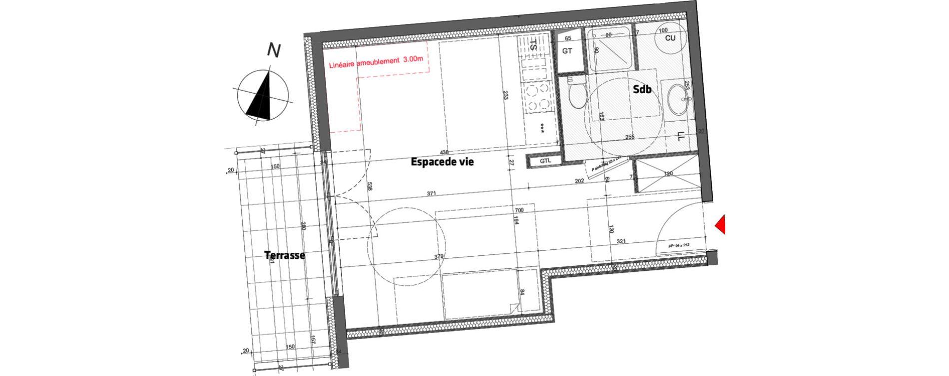 Appartement T1 de 33,70 m2 à Nancy Scarpone