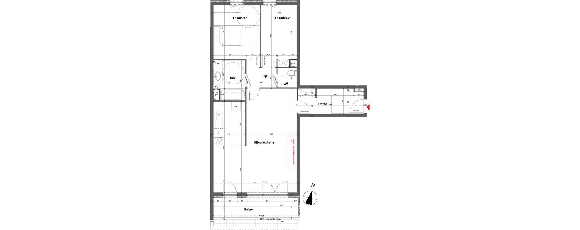 Appartement T3 de 78,60 m2 à Nancy Scarpone