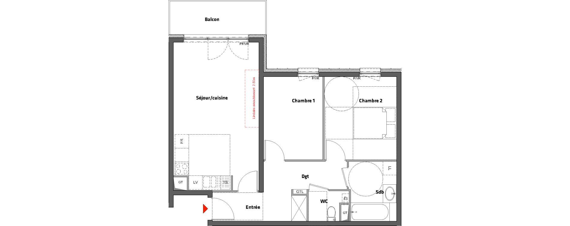 Appartement T3 de 61,40 m2 à Nancy Scarpone