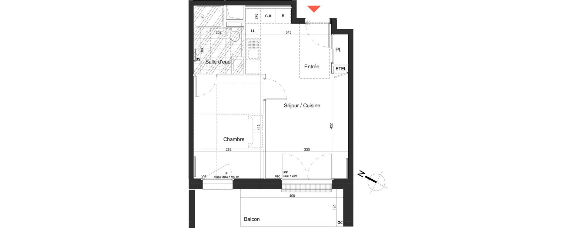 Appartement T2 de 39,39 m2 à Nancy Grand coeur