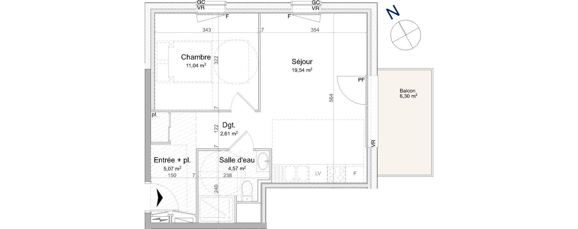 Appartement T2 de 42,83 m2 à Vandœuvre-Lès-Nancy Biancamaria