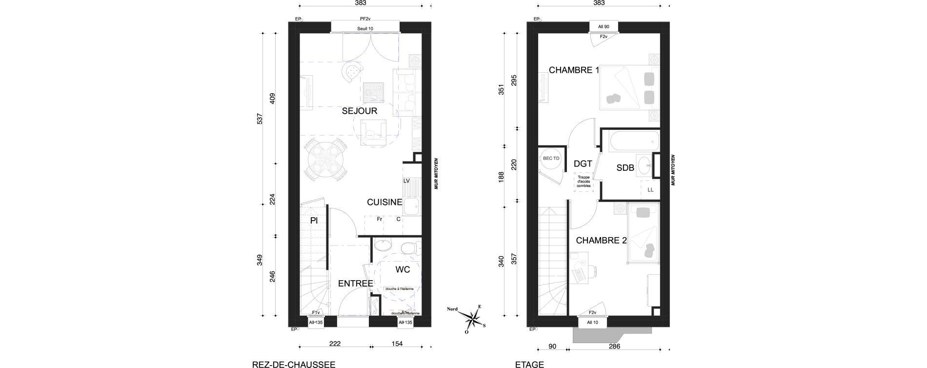 Maison T3 de 60,58 m2 à Marly Centre