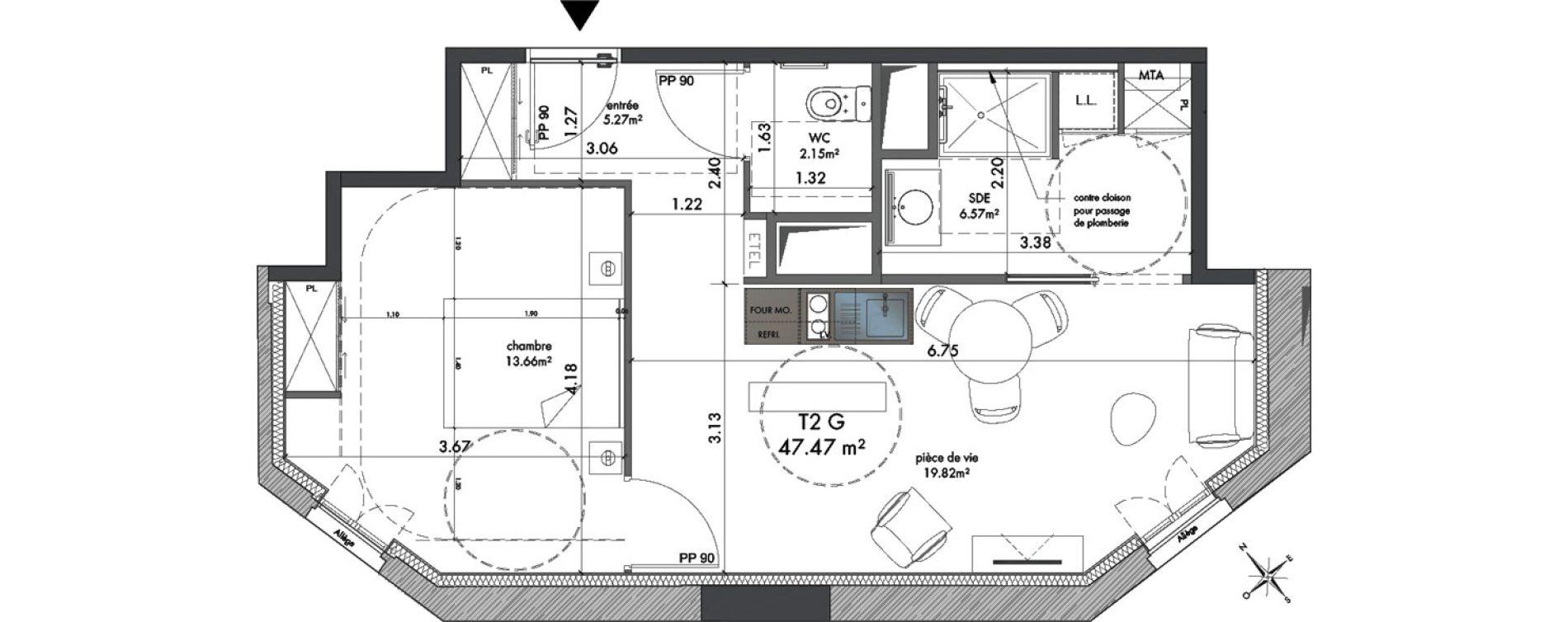 Appartement T2 meublé de 47,47 m2 à Metz Nouvelle ville