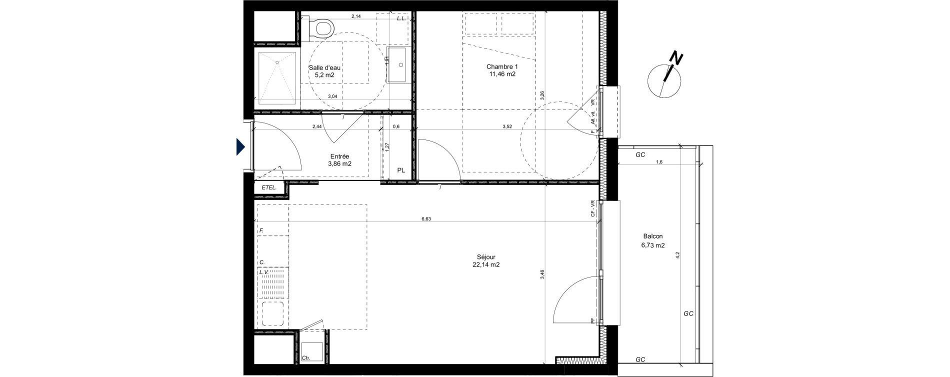 Appartement T2 de 42,79 m2 à Metz Patrotte - metz nord