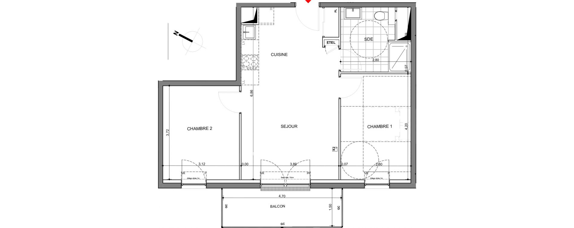 Appartement T3 de 55,42 m2 à Montigny-Lès-Metz Centre