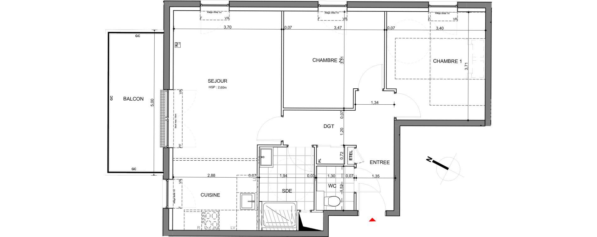 Appartement T3 de 64,50 m2 à Montigny-Lès-Metz Centre