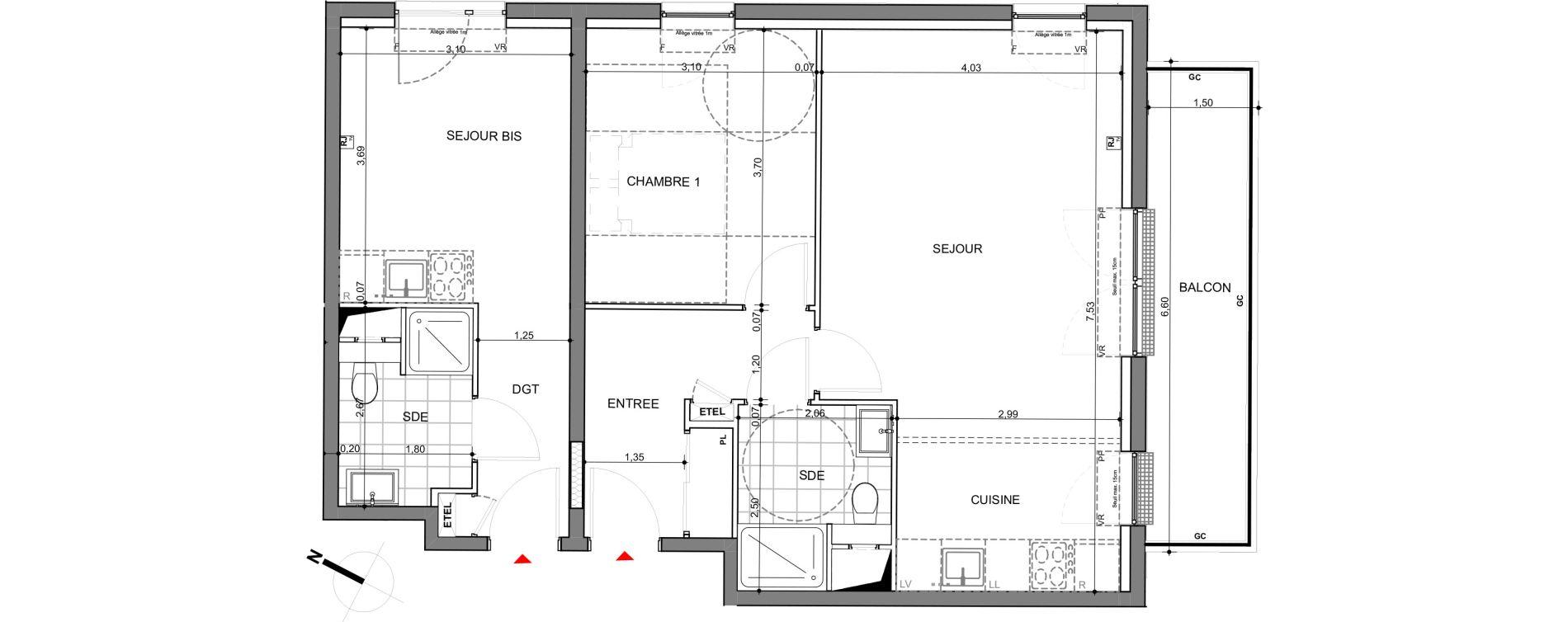 Appartement T3 de 70,61 m2 à Montigny-Lès-Metz Centre