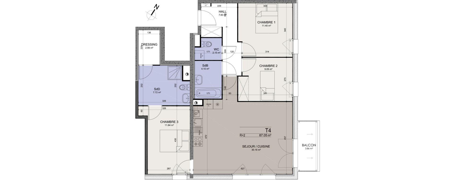 Appartement T4 de 87,05 m2 à Annœullin Centre