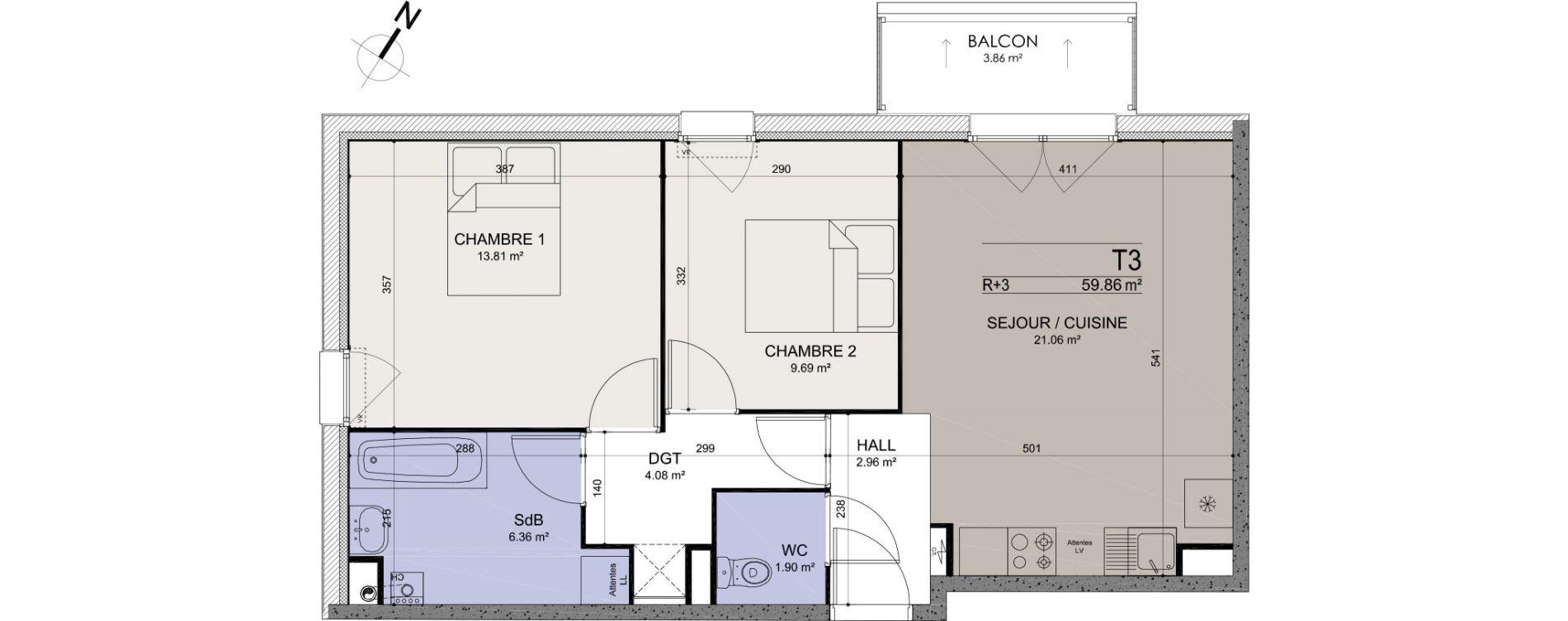 Appartement T3 de 59,86 m2 à Annœullin Centre