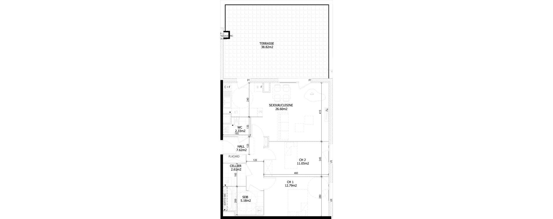 Appartement T3 de 68,70 m2 à Bousbecque Centre