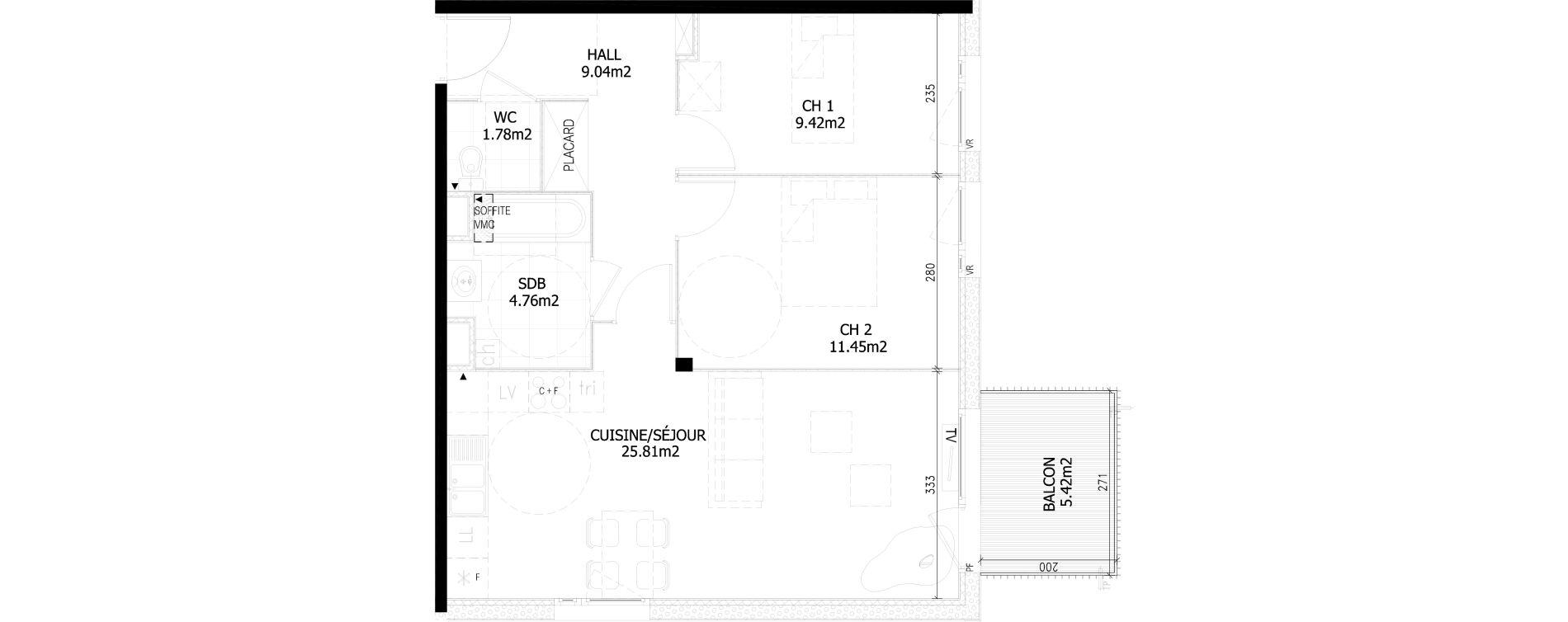 Appartement T3 de 62,20 m2 à Bousbecque Centre