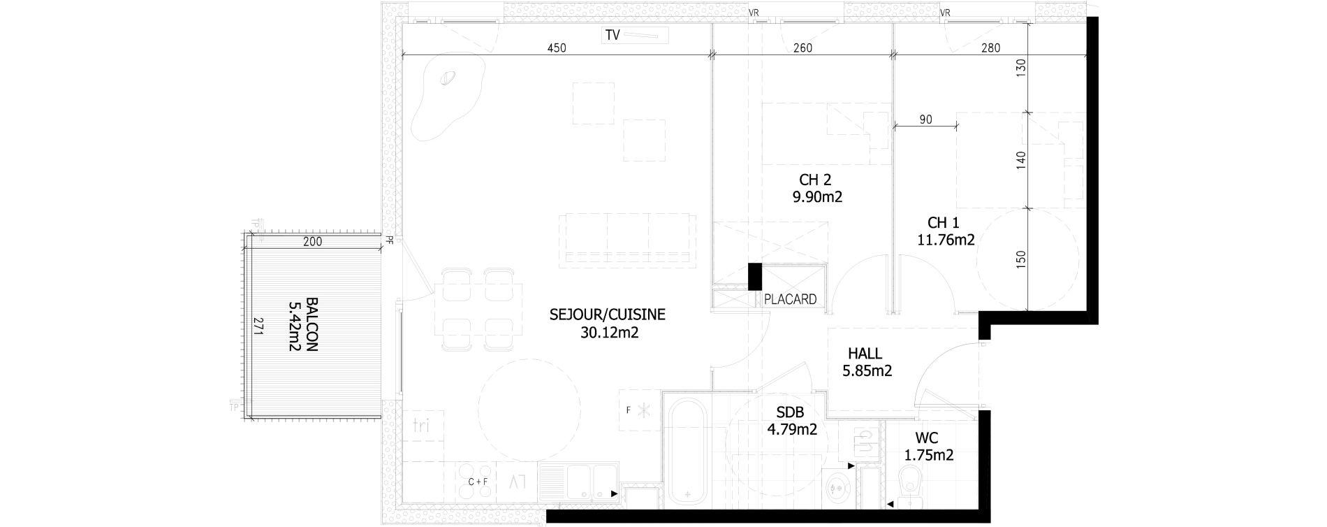 Appartement T3 de 64,30 m2 à Bousbecque Centre