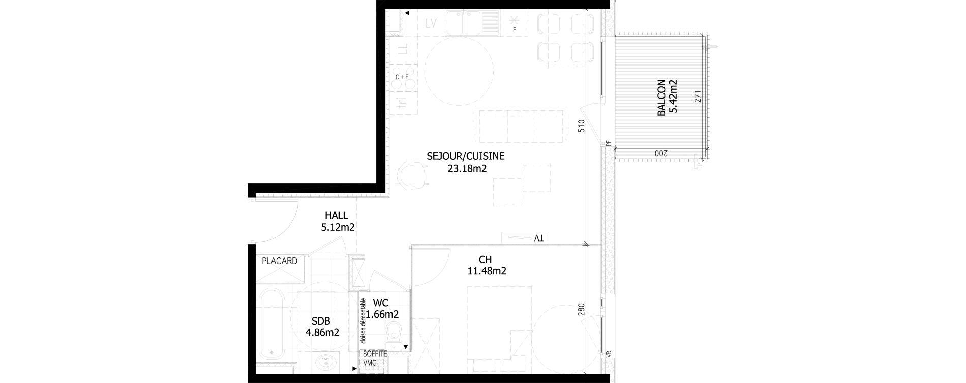 Appartement T2 de 46,30 m2 à Bousbecque Centre