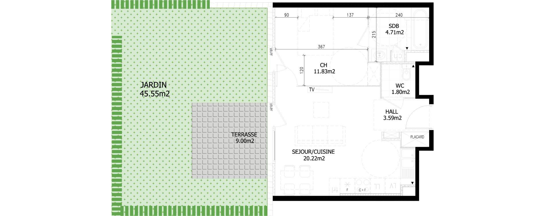 Appartement T2 de 42,20 m2 à Bousbecque Centre