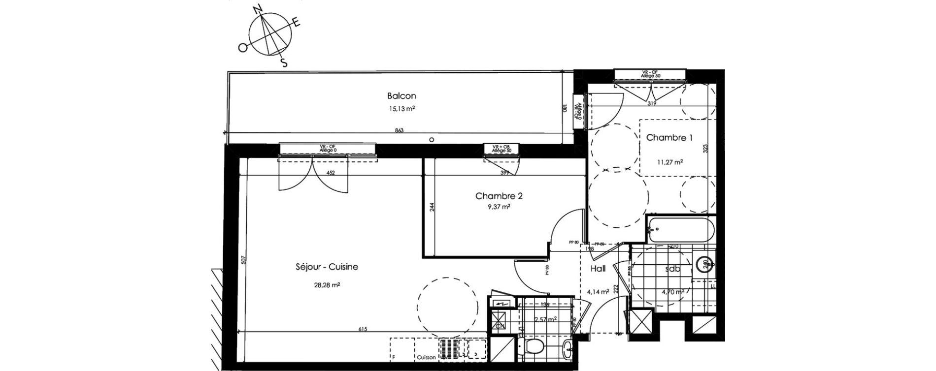 Appartement T3 de 60,33 m2 à Croix Centre