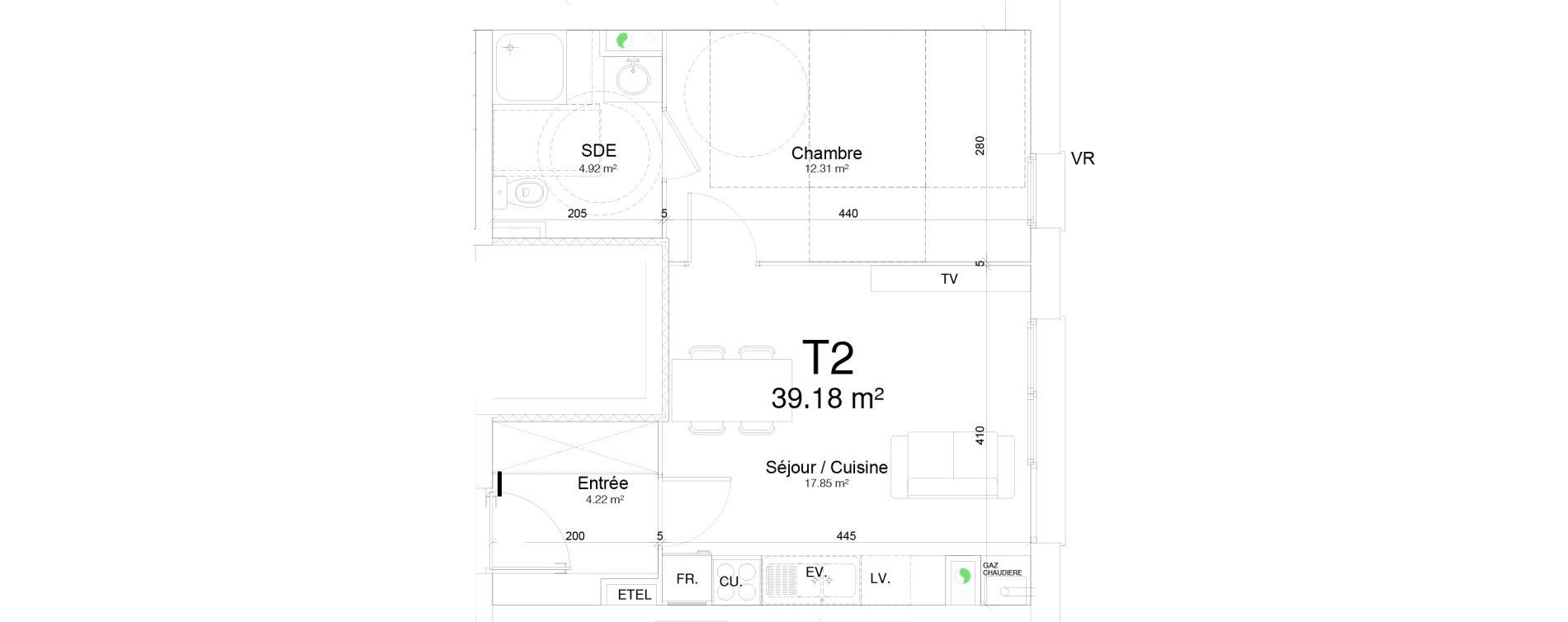 Appartement T2 de 39,18 m2 à Douai Frais marais
