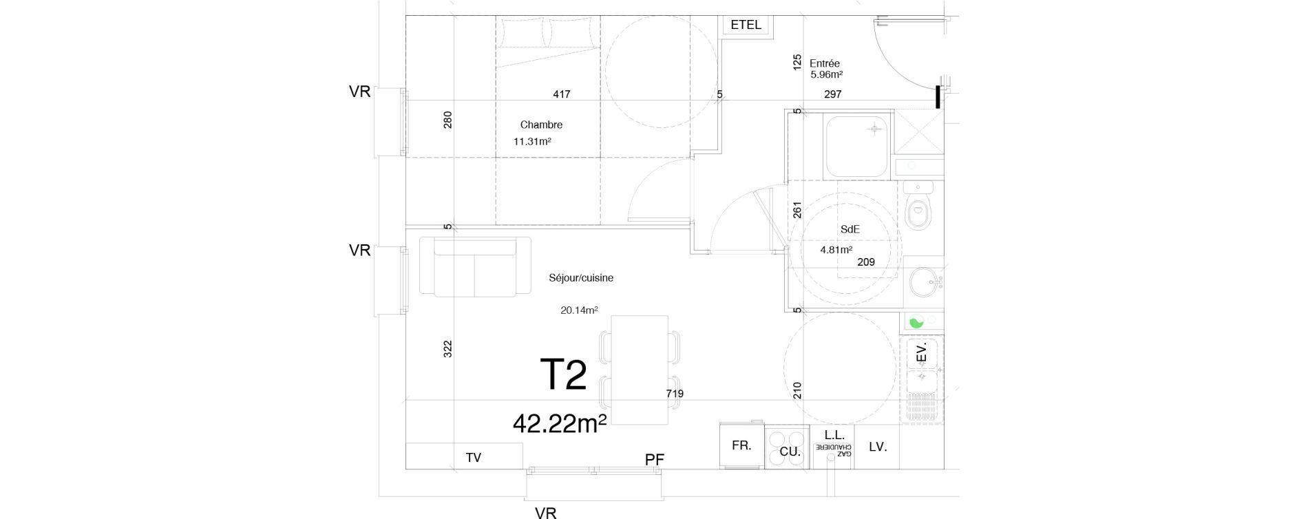 Appartement T2 de 42,22 m2 à Douai Frais marais