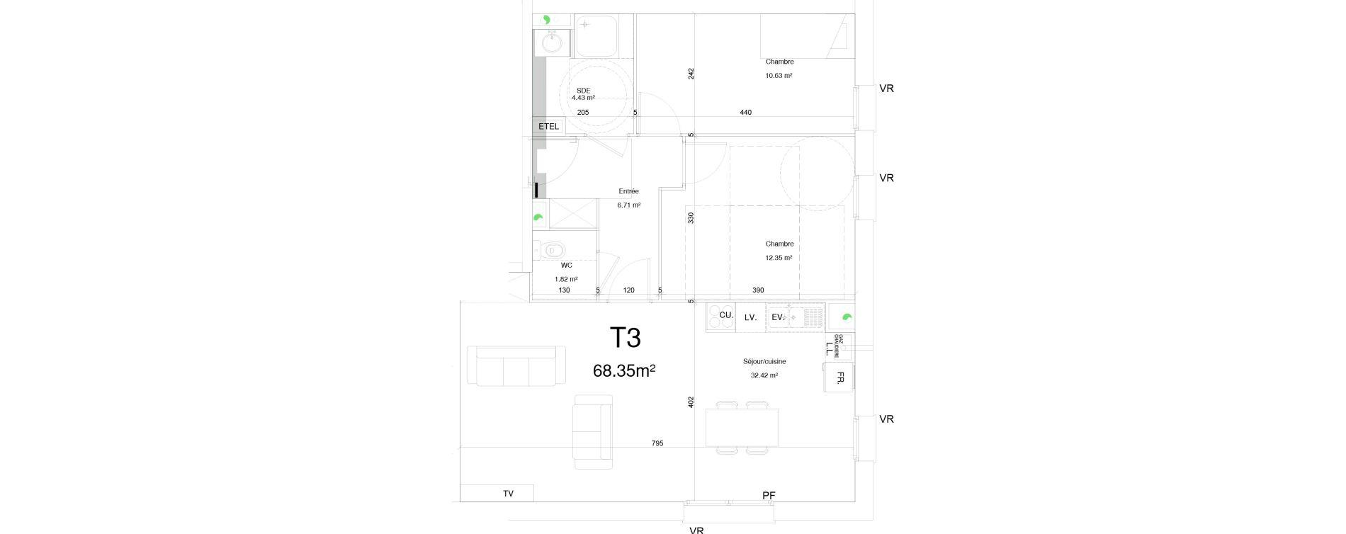 Appartement T3 de 68,35 m2 à Douai Frais marais