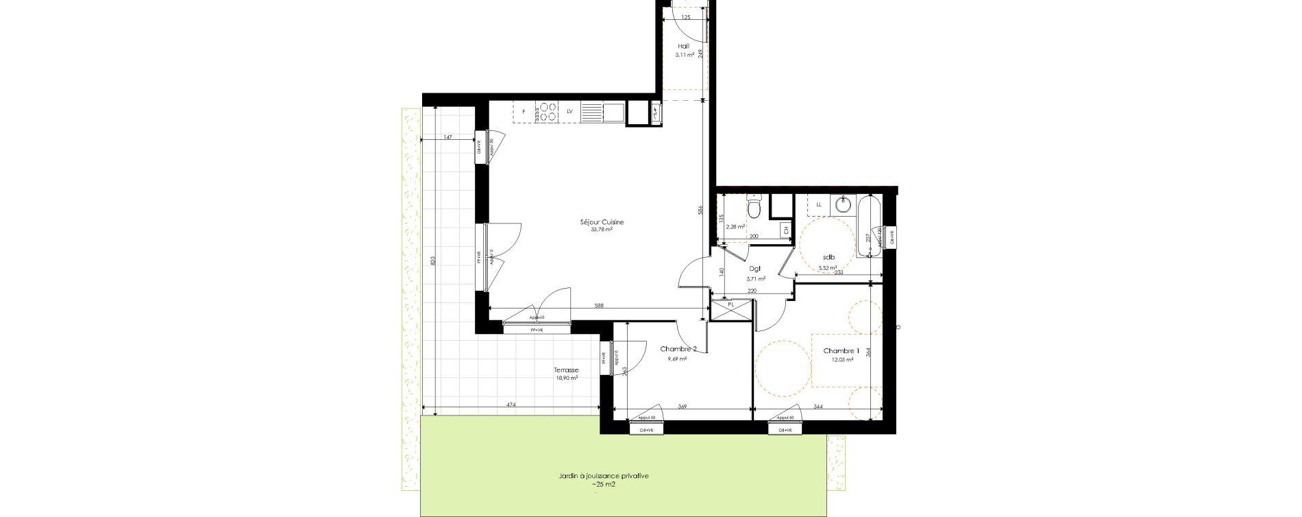 Appartement T3 de 70,12 m2 à Halluin Centre