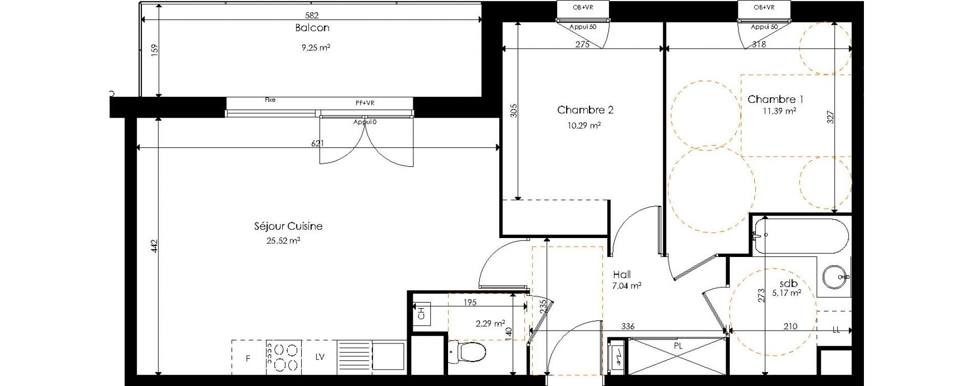 Appartement T3 de 61,70 m2 à Halluin Centre