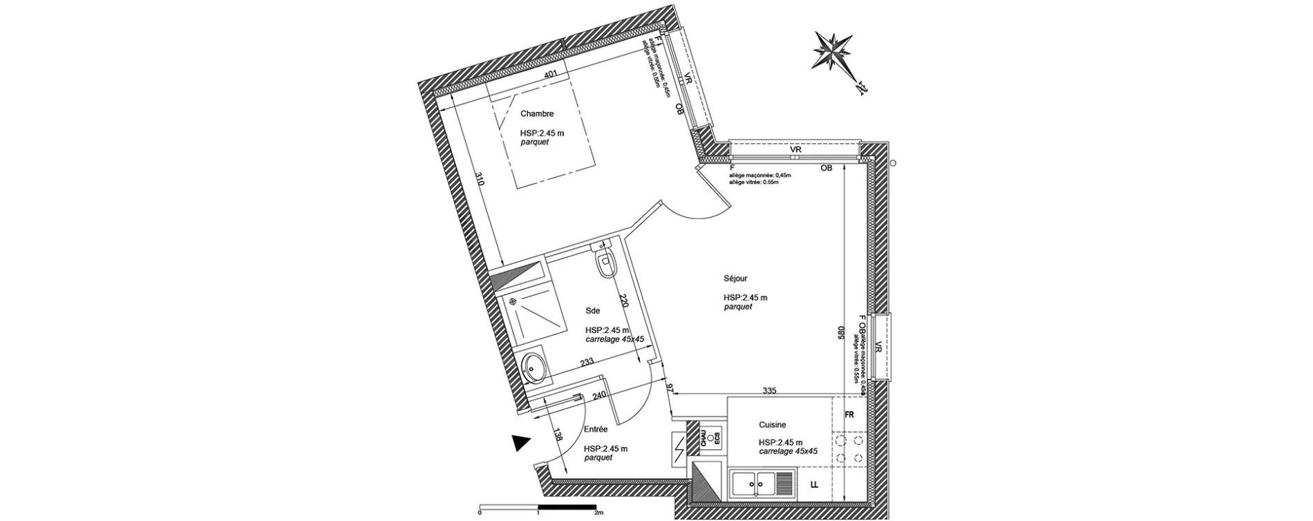 Appartement T2 de 40,00 m2 à La Madeleine Centre