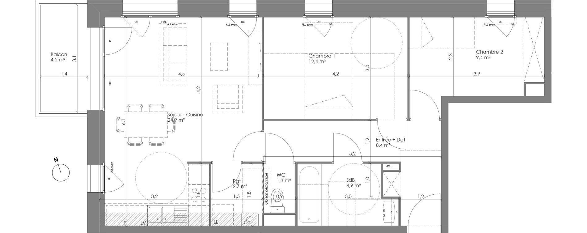 Appartement T3 de 64,40 m2 à Lannoy Centre