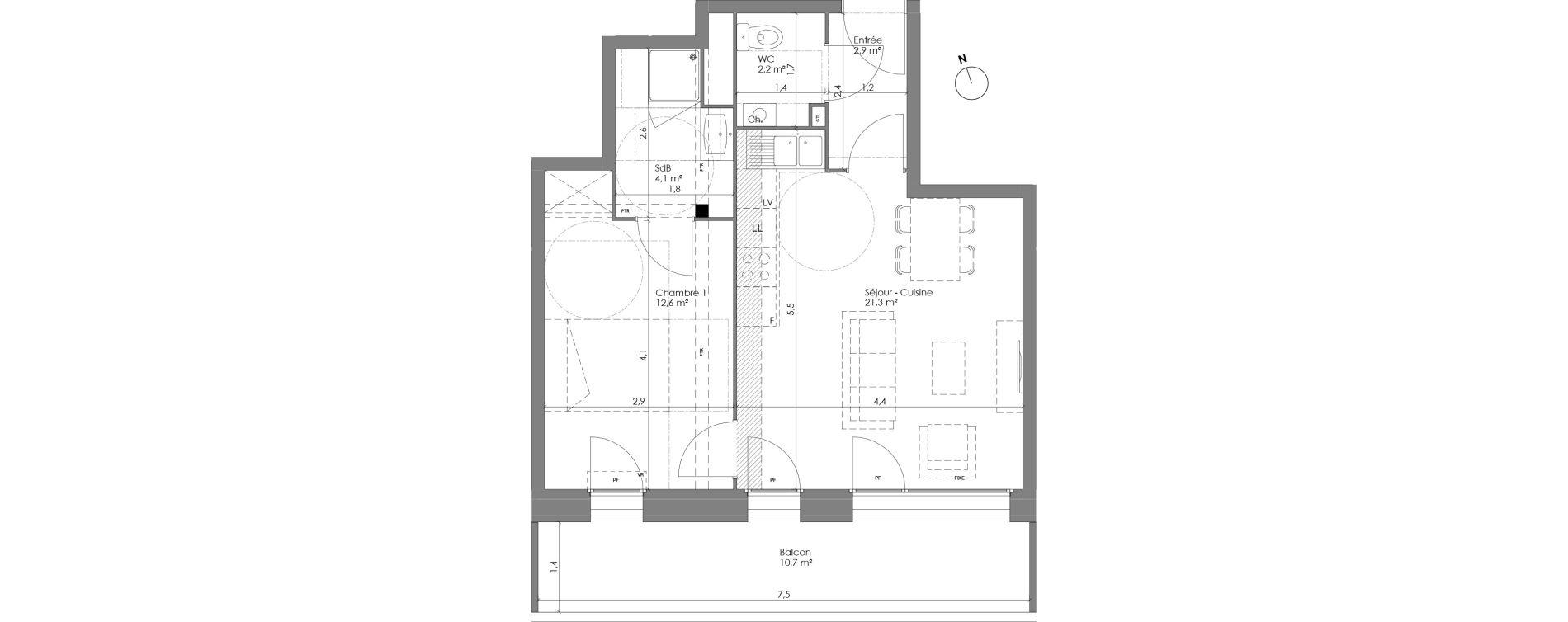 Appartement T2 de 43,20 m2 à Lannoy Centre