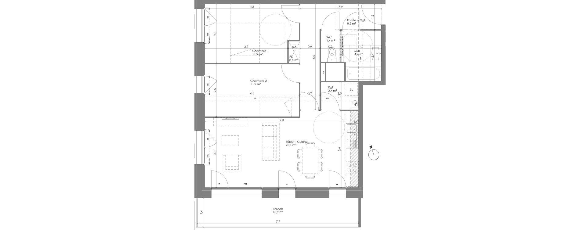 Appartement T3 de 65,20 m2 à Lannoy Centre