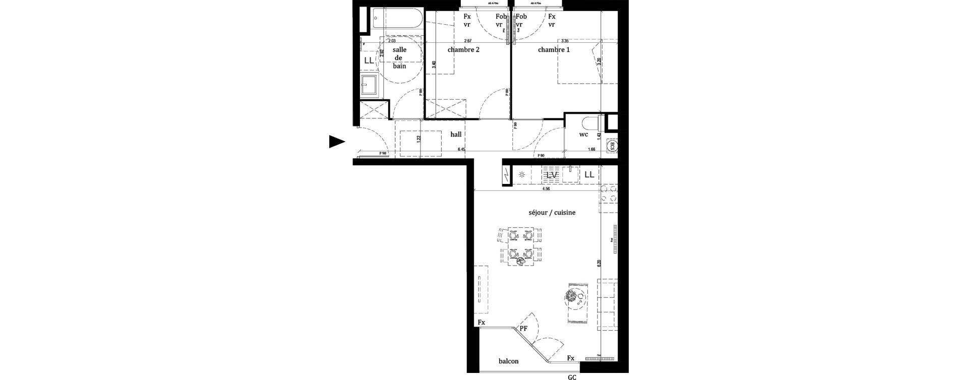 Appartement T3 de 63,10 m2 à Lille Lille sud
