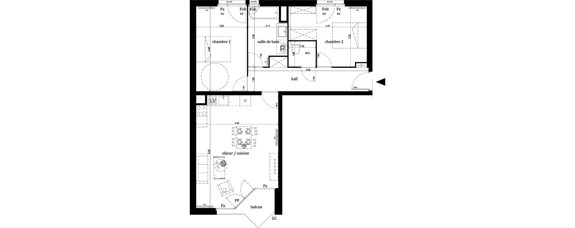 Appartement T3 de 68,00 m2 à Lille Lille sud