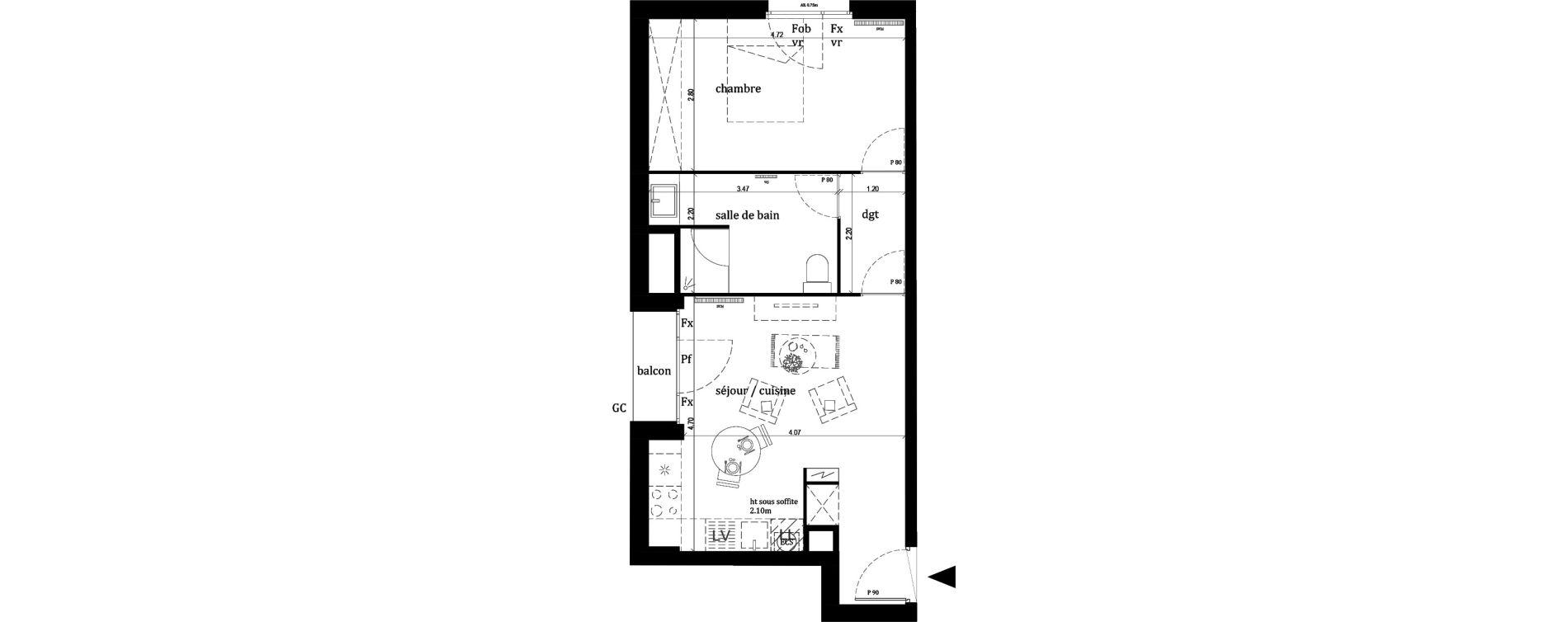 Appartement T2 de 44,10 m2 à Lille Lille sud