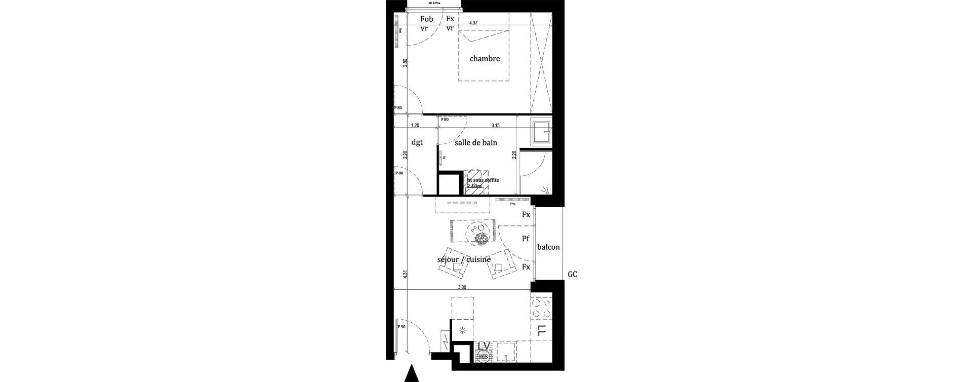 Appartement T2 de 39,30 m2 à Lille Lille sud