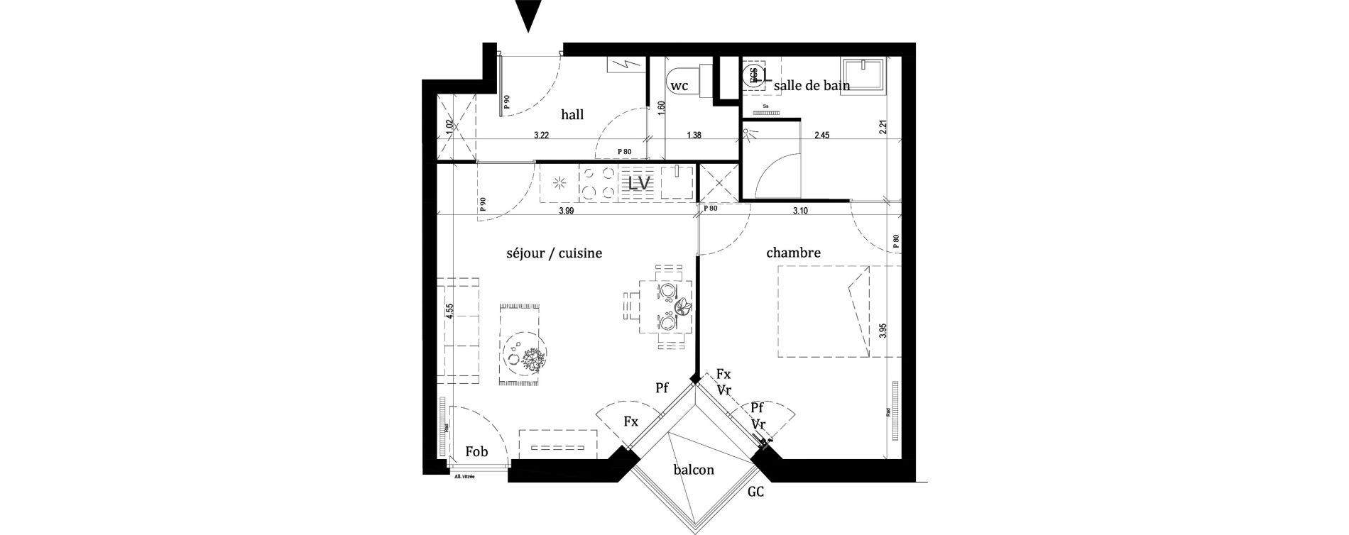 Appartement T2 de 41,00 m2 à Lille Lille sud